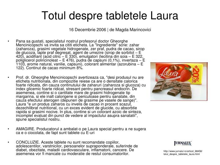 Totul despre tabletele Laura