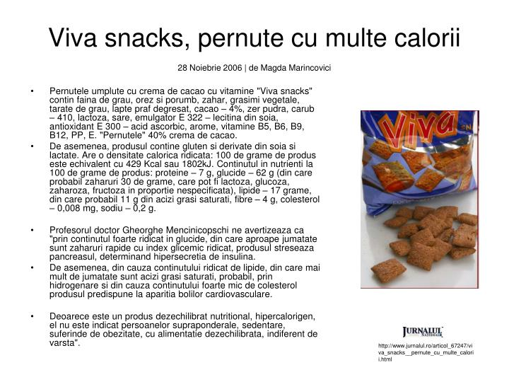Viva snacks, pernute cu multe calorii