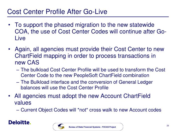 Cost Center Profile After Go-Live