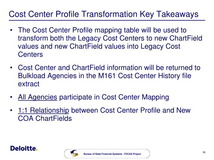 Cost Center Profile Transformation Key Takeaways
