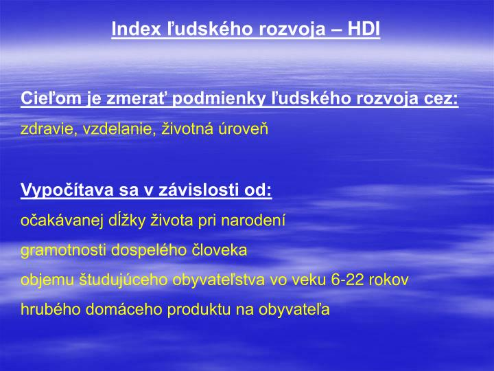Index ľudského rozvoja – HDI