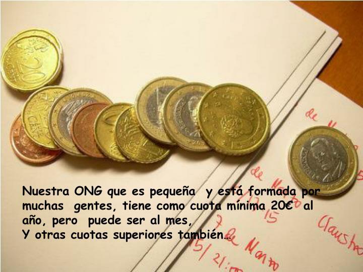 Nuestra ONG que es pequeña  y está formada por muchas  gentes, tiene como cuota mínima 20€  al año, pero  puede ser al mes,