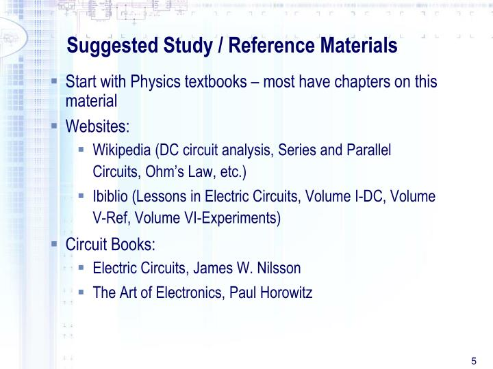 Suggested Study / Reference Materials
