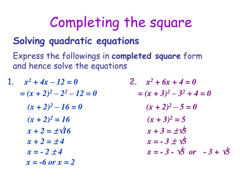completing-the-square-l Quadratic Function In Standard Form Examples on