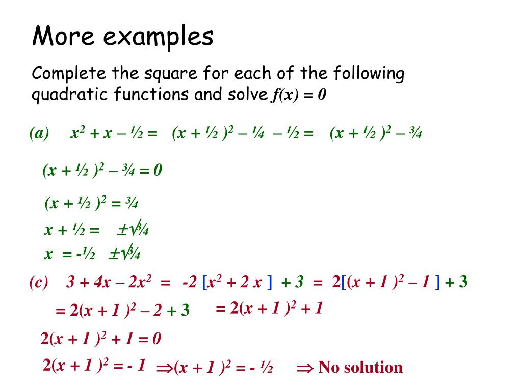 Ppt Completing The Square Powerpoint Presentation Free Download Id 4886176