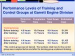 performance levels of training and control groups at garrett engine division