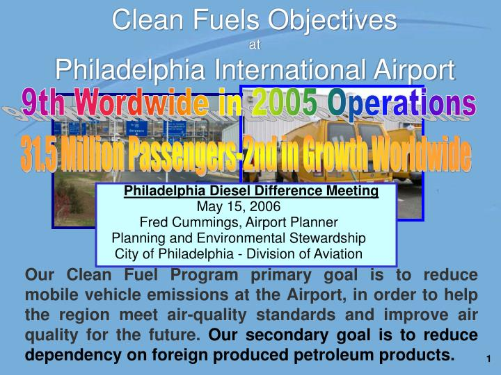 Clean fuels objectives at philadelphia international airport