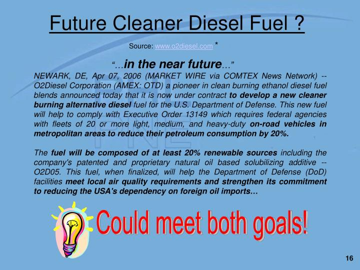 NEWARK, DE, Apr 07, 2006 (MARKET WIRE via COMTEX News Network) -- O2Diesel Corporation (AMEX: OTD) a pioneer in clean burning ethanol diesel fuel blends announced today that it is now under contract