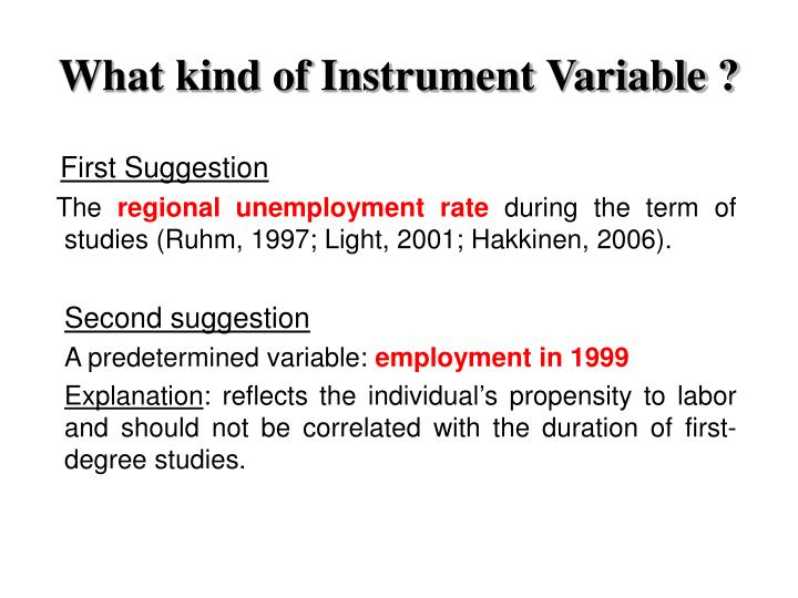 What kind of Instrument Variable ?