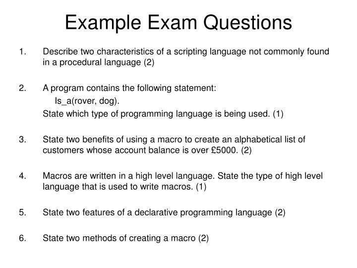 Example Exam Questions