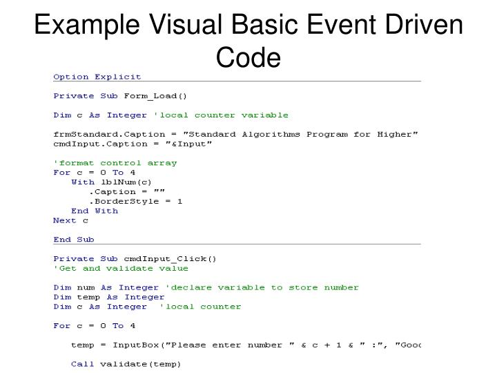 Example Visual Basic Event Driven Code