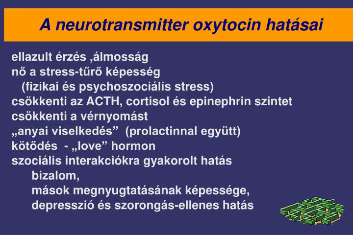 A neurotransmitter oxytocin hatásai