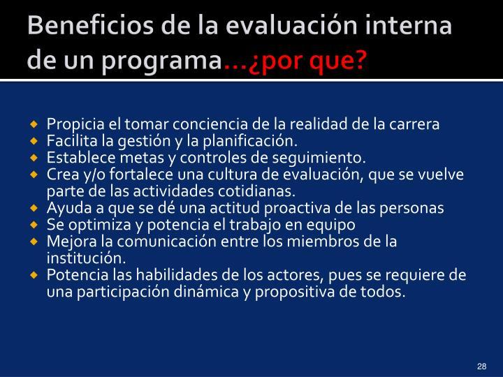 Beneficios de la evaluación interna de un programa