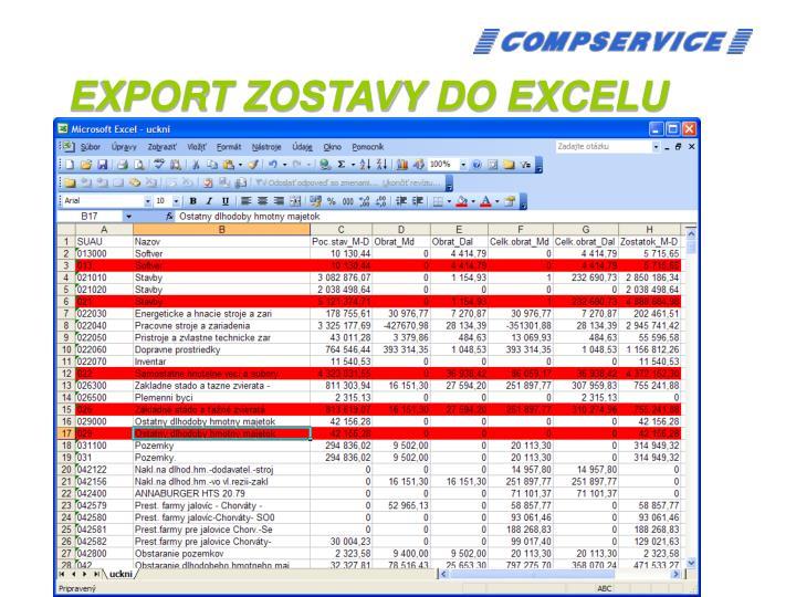 EXPORT ZOSTAVY DO EXCELU