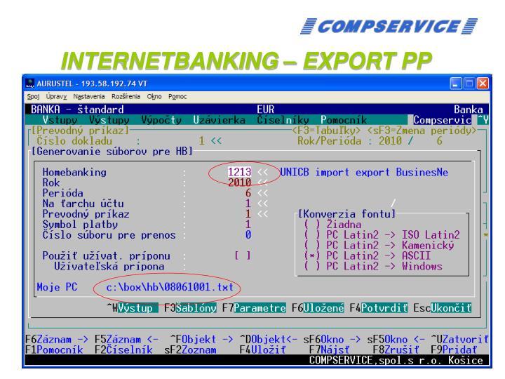 INTERNETBANKING – EXPORT PP