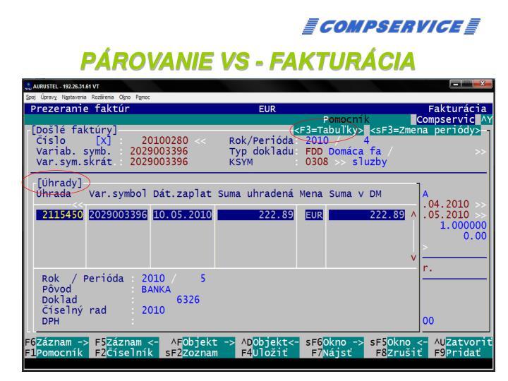 PÁROVANIE VS - FAKTURÁCIA
