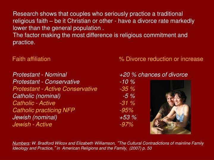 Research shows that couples who seriously practice a traditional