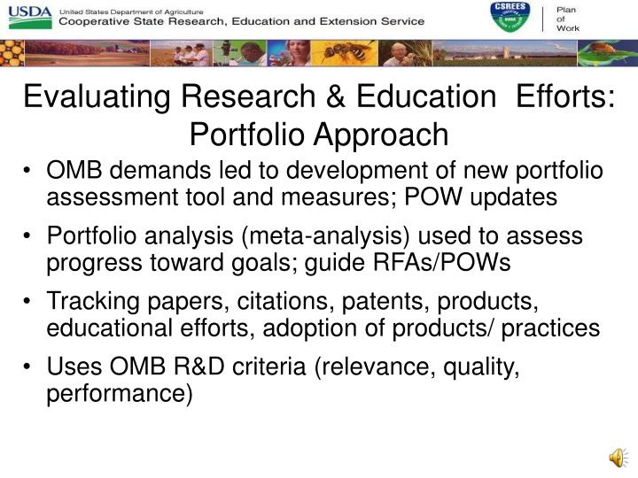 Evaluating Research & Education  Efforts: Portfolio Approach