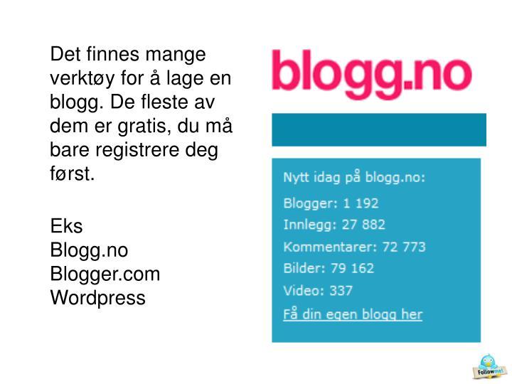 Det finnes mange verktøy for å lage en blogg. De fleste av dem er gratis, du må bare registrere deg først.