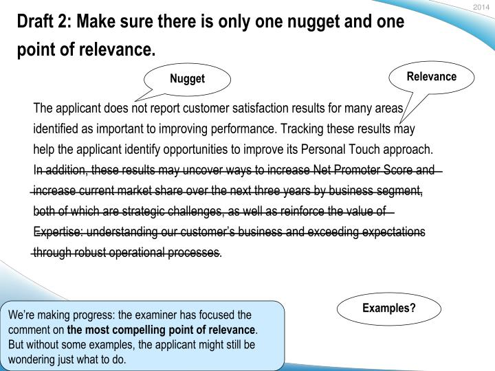 Draft 2: Make sure there is only one nugget and one point of relevance.
