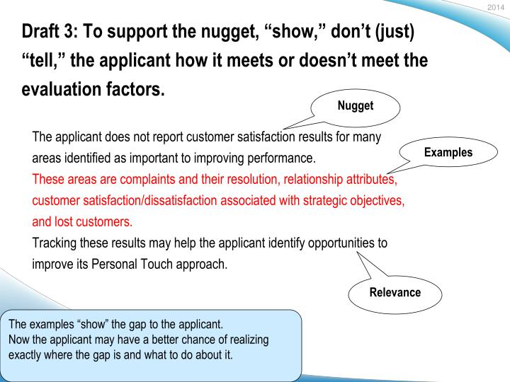 """Draft 3: To support the nugget, """"show,"""" don't (just) """""""