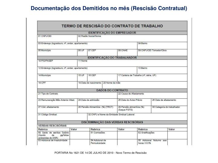 Documentação dos Demitidos no mês (Rescisão Contratual)