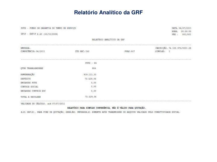 Relatório Analítico da GRF