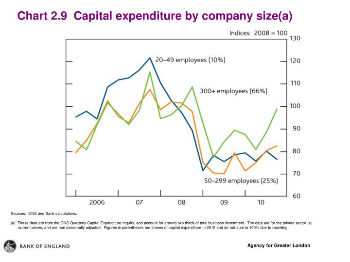 Chart 2.9  Capital expenditure by company size(a)