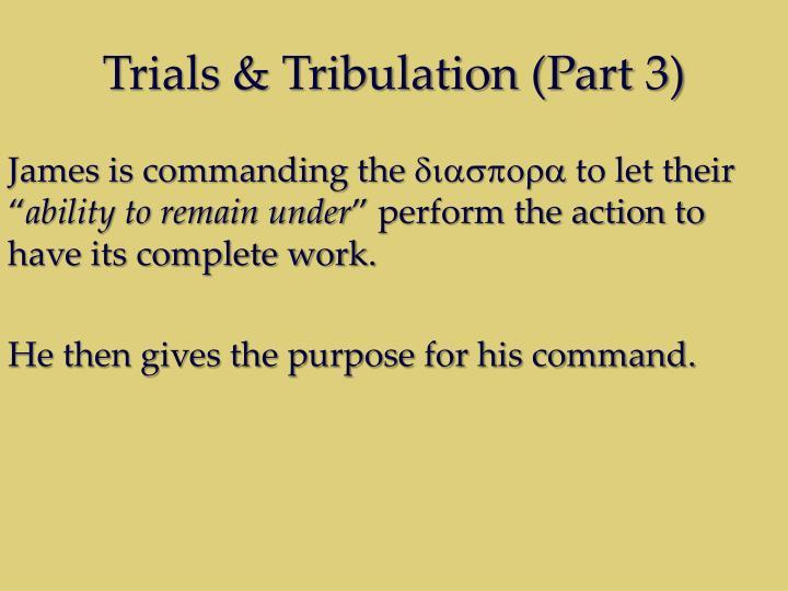 Trials & Tribulation (Part 3)