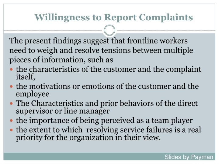 Willingness to Report Complaints