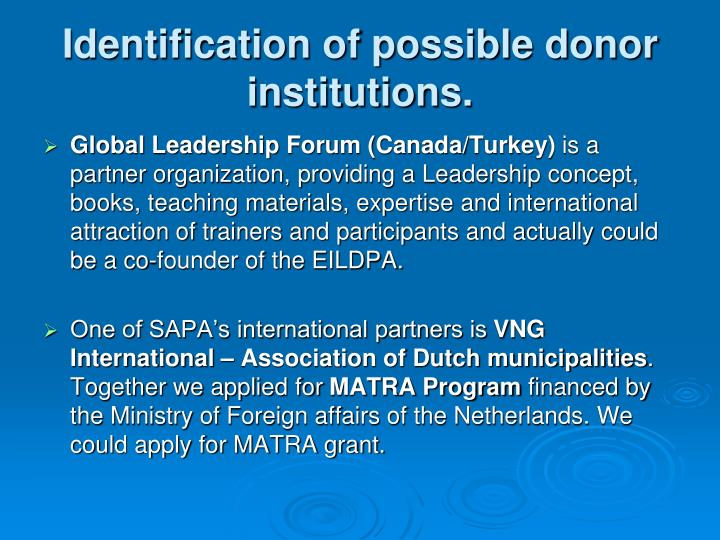 Identification of possible donor institutions.