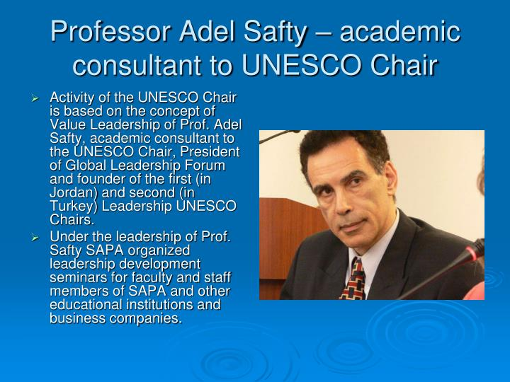 Professor Adel Safty – academic consultant to UNESCO Chair