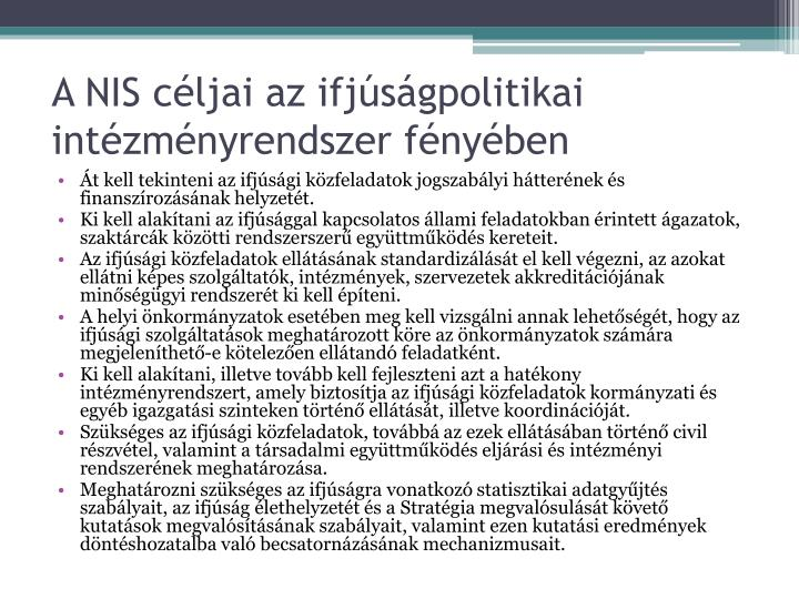 A NIS céljai az ifjúságpolitikai intézményrendszer fényében