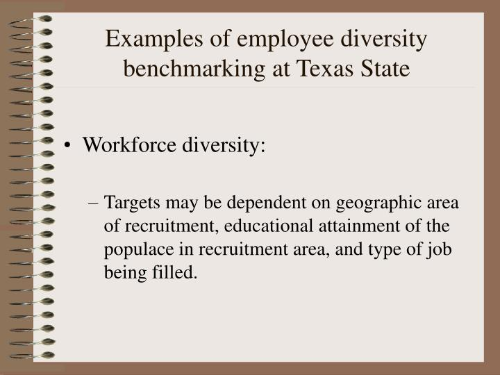 Examples of employee diversity benchmarking at Texas State