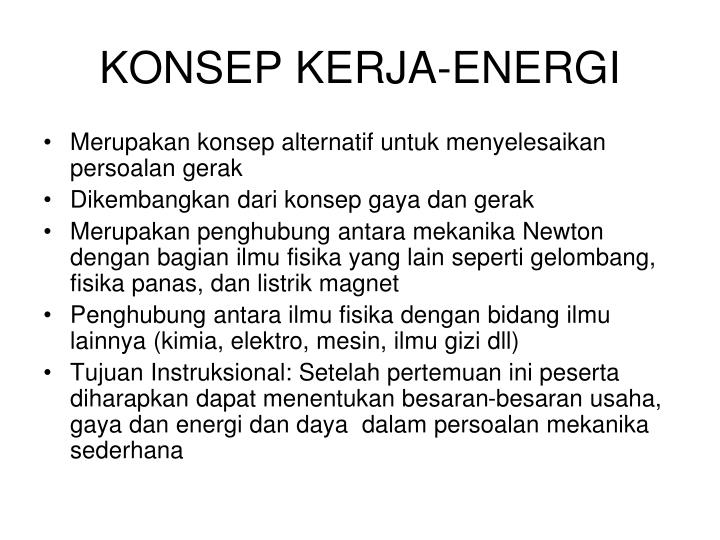 Konsep kerja energi