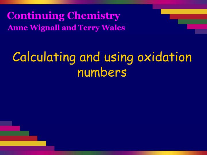 calculating and using oxidation numbers n.