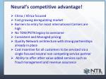 neural s competitive advantage