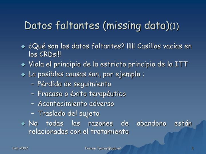 Datos faltantes missing data 1