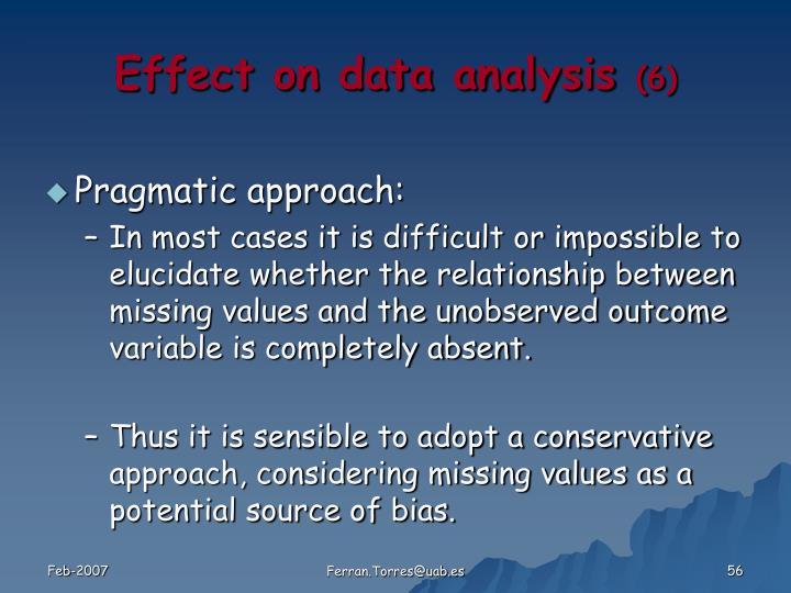 Effect on data analysis