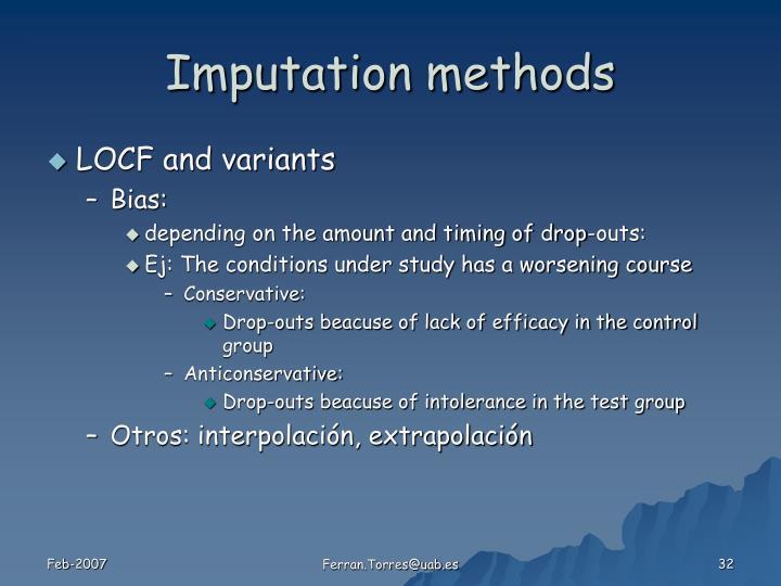 Imputation methods