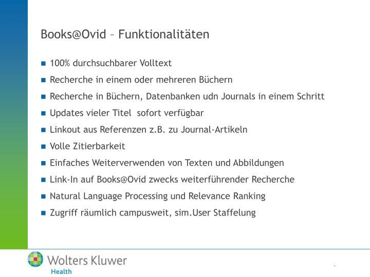 Books@Ovid – Funktionalitäten
