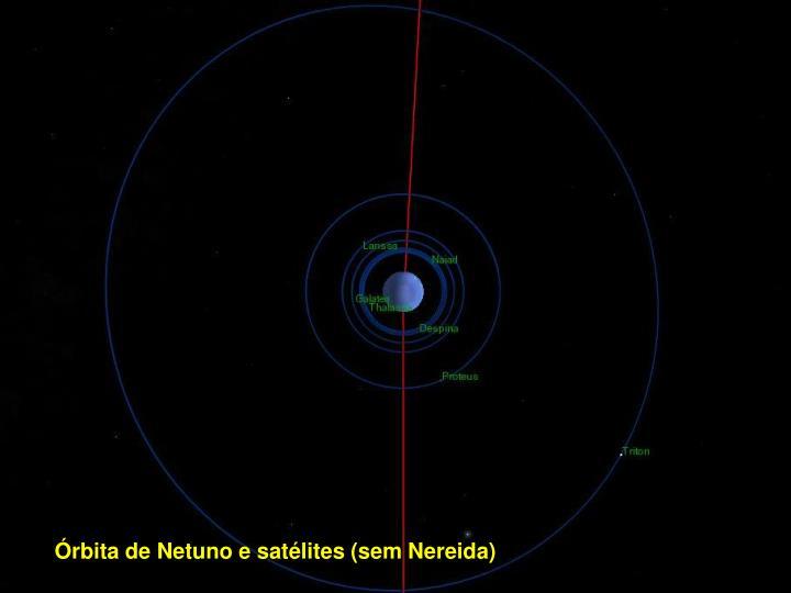 Órbita de Netuno e satélites (sem Nereida)
