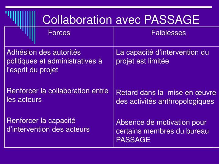 Collaboration avec PASSAGE