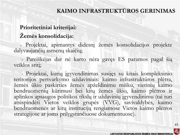 KAIMO INFRASTRUKTŪROS GERINIMAS