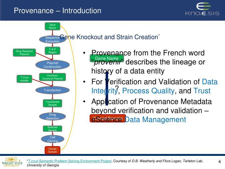 Provenance – Introduction