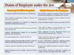 duties of employer under the act