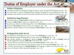 duties of employer under the act1