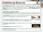 guidelines @ bonus act