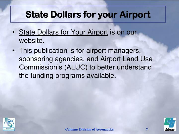 State Dollars for your Airport