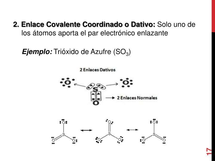2. Enlace Covalente Coordinado o Dativo:
